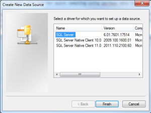 Make sure you use the standard SQL Driver when setting up an ODBC connection for relog to load perflog data into SQL Server