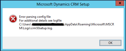 CRM Config file parse error