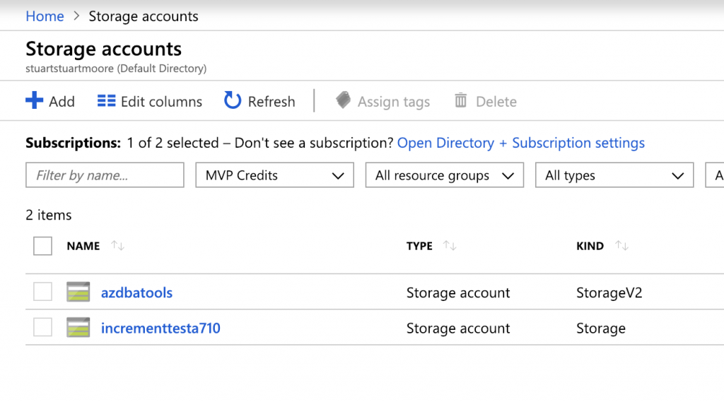 Storage accounts in Azure Portal