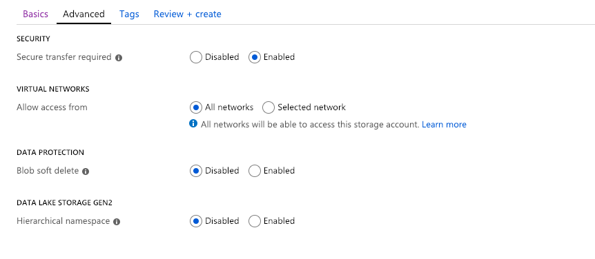 Storage Account settings for SQL Server Backup and Restore