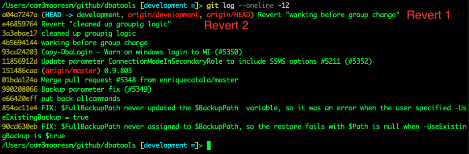 Git log history showing revert results